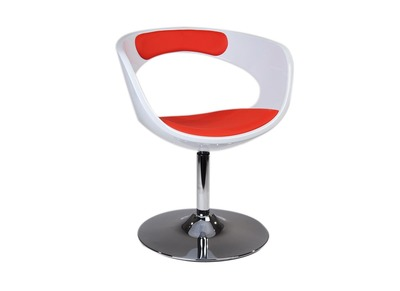 White and Red Retro Modern Armchair/Chair GROOVY