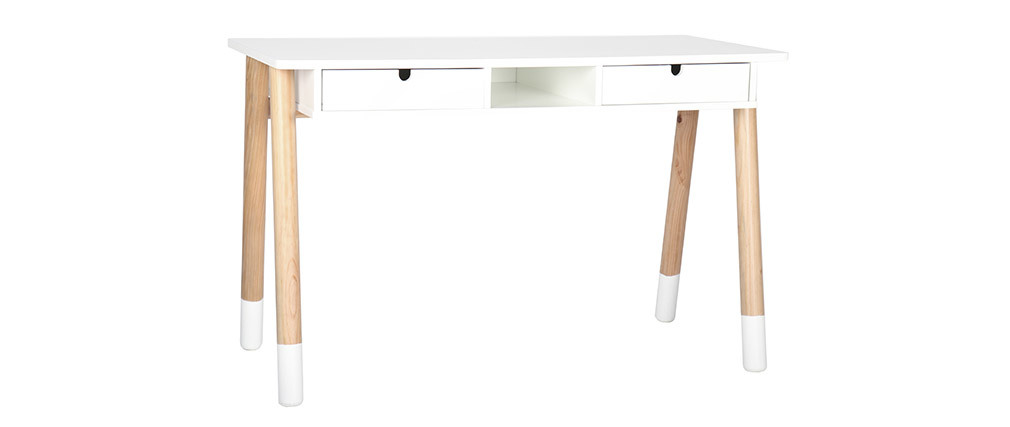 White and wood kids desk 120cm PILOTI