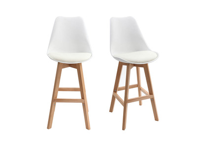White and Wood Modern Bar Stools 65cm PAULINE (set of 2)