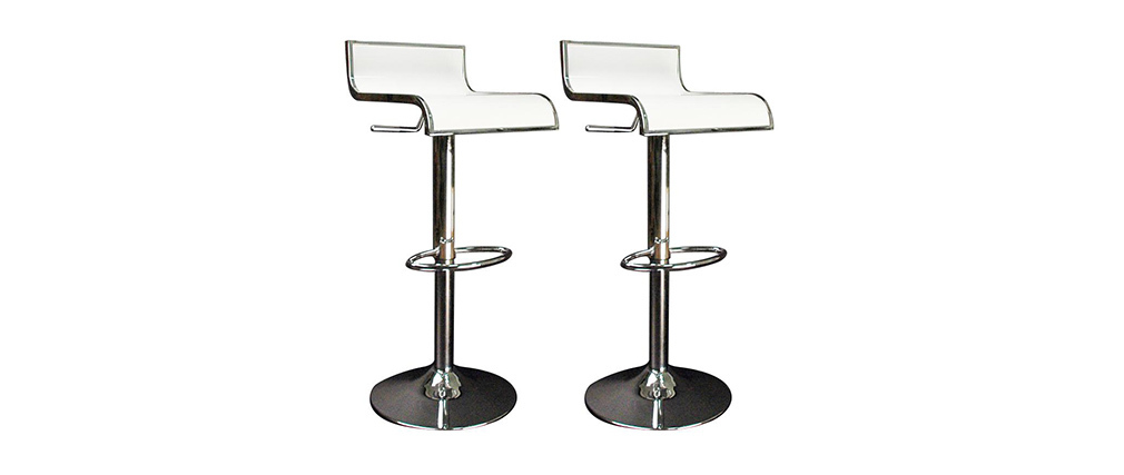 White Bar/ Kitchen Stool WAVES (set of 2)