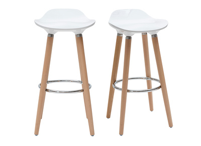 White Bar Stool Wood Legs (set of 2) GILDA