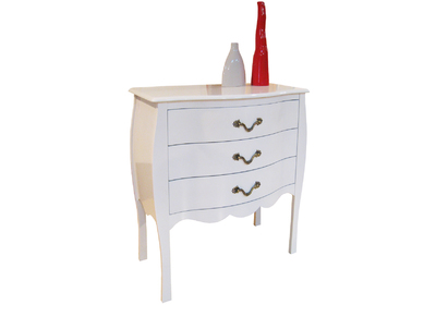 White Baroque 3 Drawer Chest LOUISA