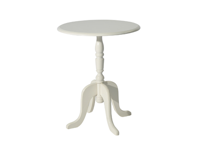 White Baroque Round Side Table LOUISA