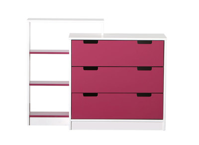 White/Fuchsia Kids Chest of Drawers CREA