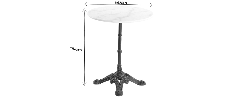 White marble and black metal bistro table CONTY