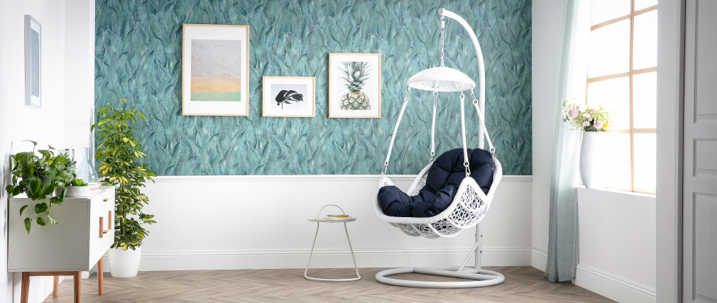 White metal hanging egg chair in dark blue fabric BALI