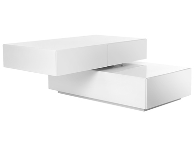 White Modern 4 Drawers Swiveling Coffee Table ELEA