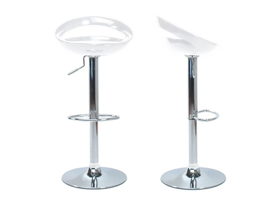 White Modern Bar/ Kitchen Stool COMET (set of 2)