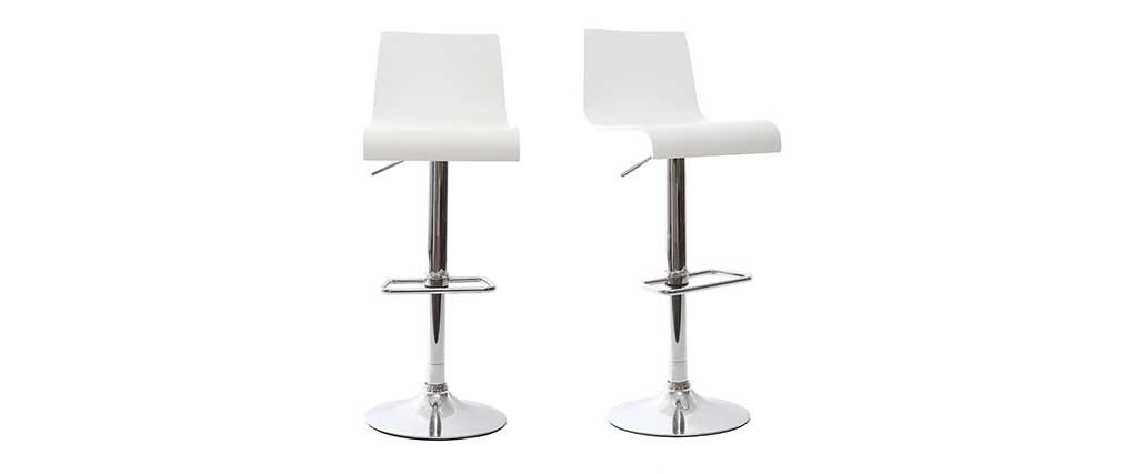 White Modern Bar/Kitchen Stool NEWSURF (set of 2)