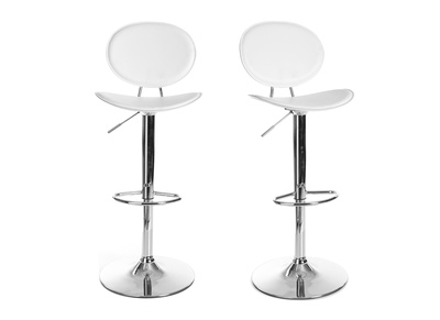 White Modern Bar/Kitchen Stool OVALY (set of 2)
