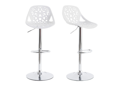 White Modern Bar Stool (set of 2) BAROCCA