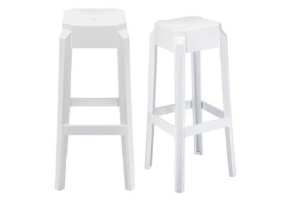 White Modern Bar Stool 75cm CLEAR (set of 2)