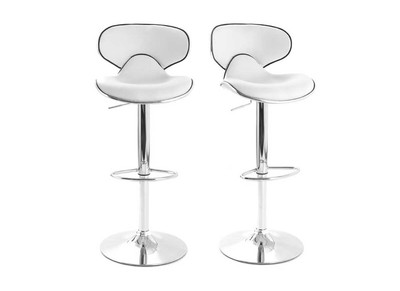 White Modern Bar Stool PEGASE (set of 2)