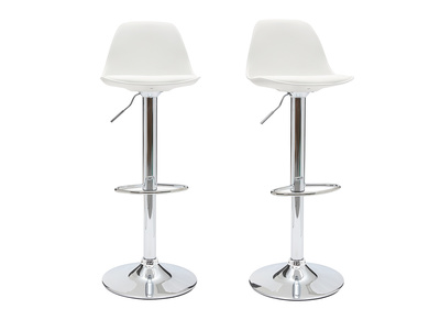 White Modern Bar Stool STEEVY (set of 2)