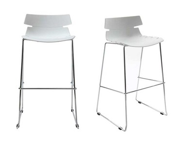 White Modern Bar Stools IRIS (set of 2)