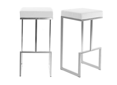 White Modern Bar Stools OMICRON (set of 2)