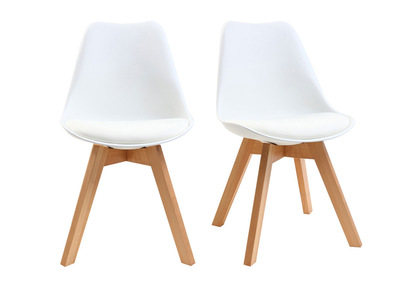 White Modern Chairs Wooden Legs PAULINE (set of 2)