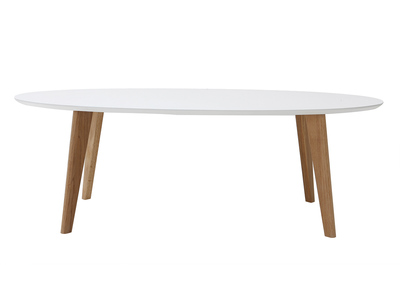White Modern Oval Coffee Table 120cm EKKA