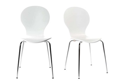 White Modern Stackable Chairs NEW ABIGAIL (set of 2)