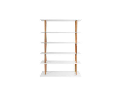White Natural Wood Modern Bookcase 5 Shelves GILDA