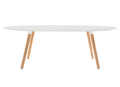 White Natural Wood Modern Coffee Table GILDA