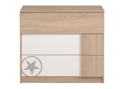 White/Oak Kids 3 Drawer Chest PARKER