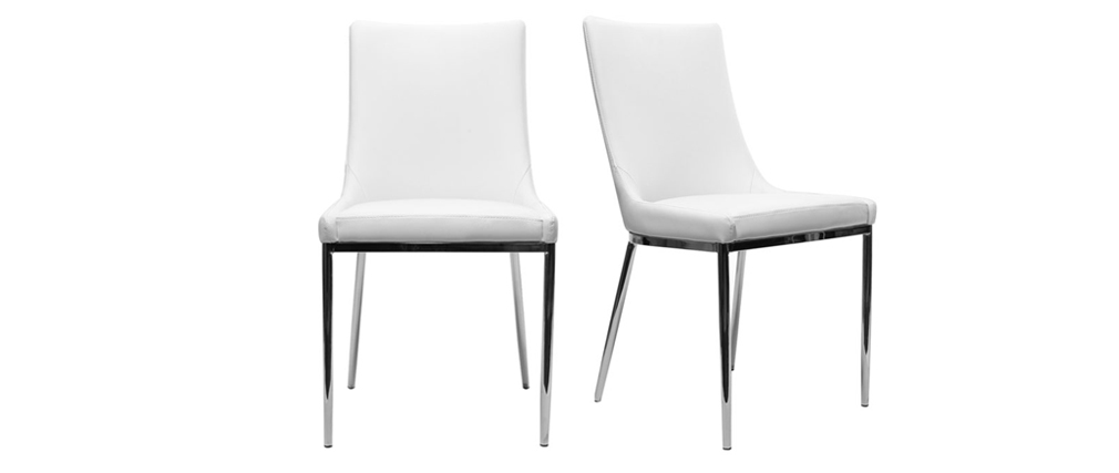 White Polyurethane and Chromed Steel Modern Chair IRA (set of 2)