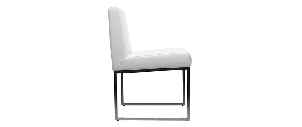 White Polyurethane and Chromed Steel Modern Chair JUNIA (set of 2)