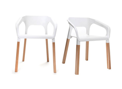 White Scandinavian Style Chair HELIA (set of 2)