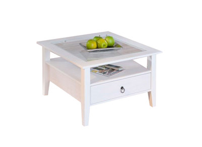 White Solid Pine Modern Coffee Table CAMBRIDGE
