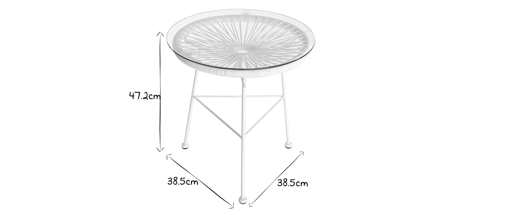White wire resin garden side table BELLAVISTA