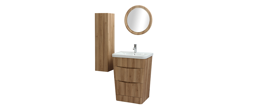 WILD bathroom unit and tower with basin, mirror and storage in wood