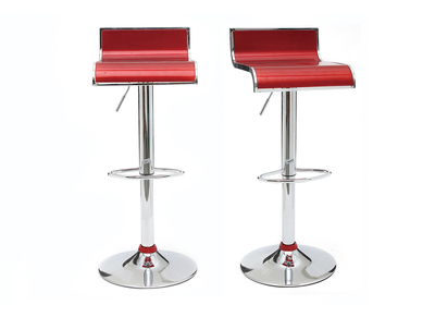 Wine Red Modern Bar/Kitchen Stool WAVES (set of 2)