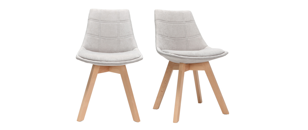 Wood and Light Grey Fabric Scandinavian Modern Chair MATILDE (set of 2)