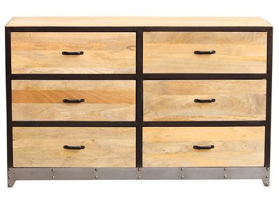 Wood and Metal 6 Drawer Chest INDUSTRIA