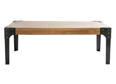 Wood and Metal Industrial Coffee Table MADISON