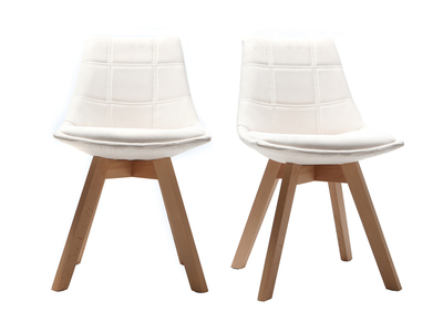 Wood and Off-White Fabric Scandinavian Modern Chair MATILDE (set of 2)