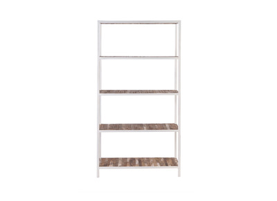 Wood and White Metal Bookshelf ROCHELLE