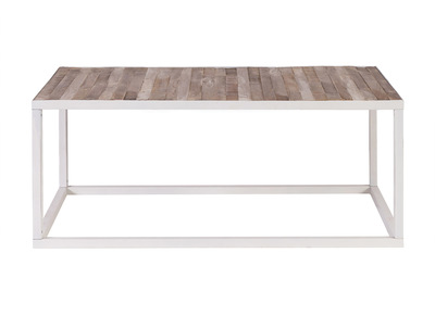 Wood and White Metal Coffee Table (100x60 cm) ROCHELLE