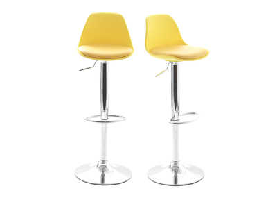 Yellow Bar Stool STEEVY (set of 2)