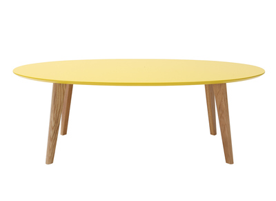Yellow Modern Oval Coffee Table 120cm EKKA