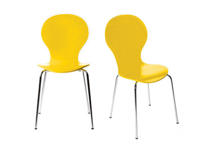 Yellow Stackable Modern Chair NEW ABIGAIL (set of 2)