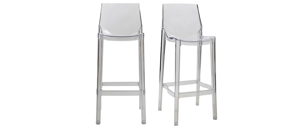 YLAK Transparent Modern Bar Stool (set of 2)