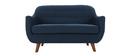 YNOK 2 seater designer sofa with removable blue cover.