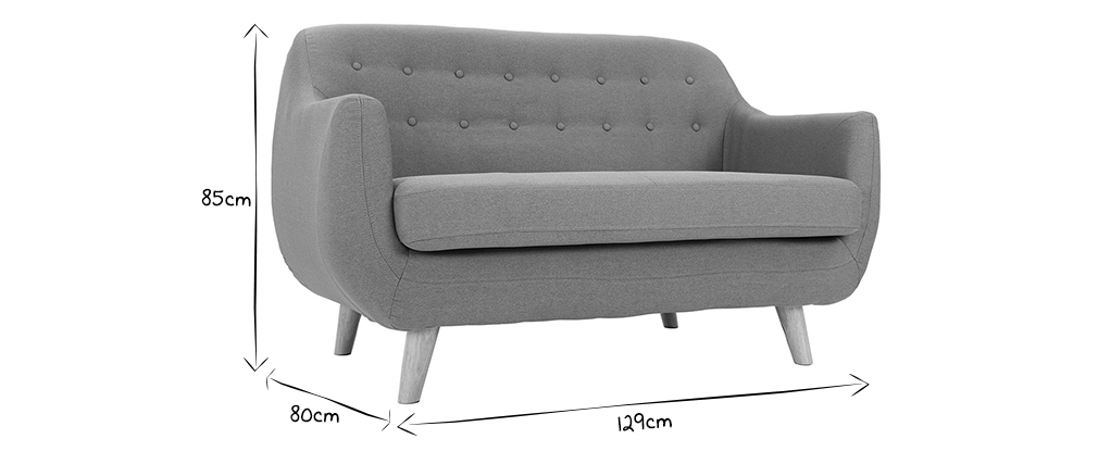 YNOK 2 seater designer sofa with removable grey fabric cover and wooden feet