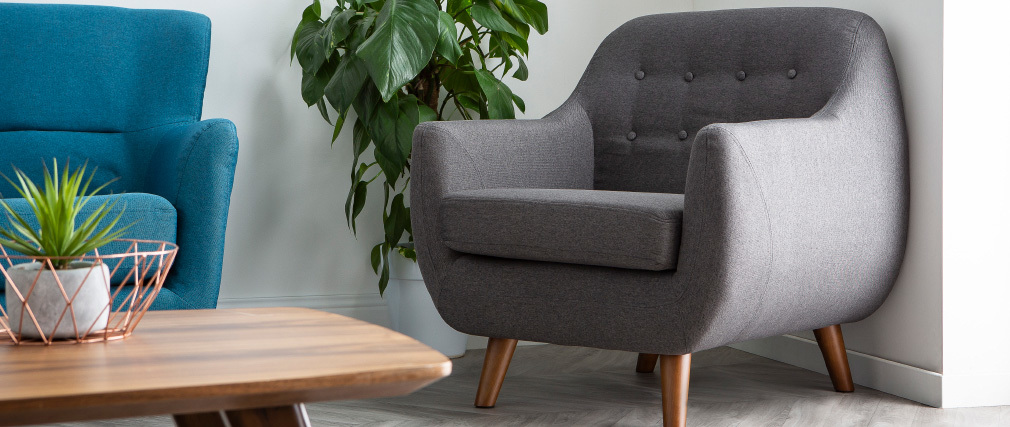 YNOK designer armchair with removable charcoal grey cover
