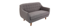 YNOK designer sofa 2 seater with removable charcoal grey cover