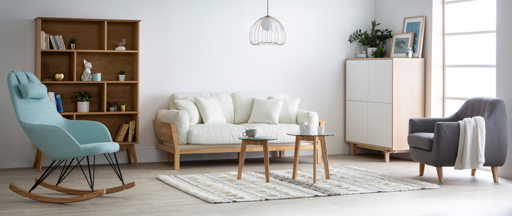 YNOK Scandinavian armchair with removable light grey cover