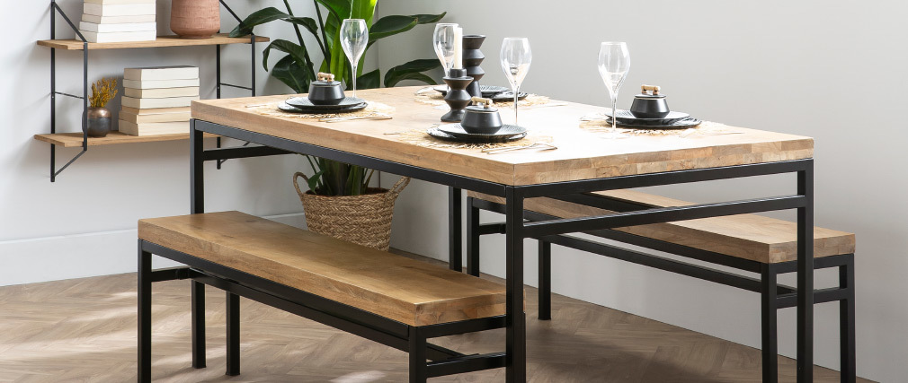 YPSTER industrial wood and metal bench 140cm