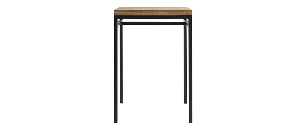 YPSTER mango wood and black metal square high table